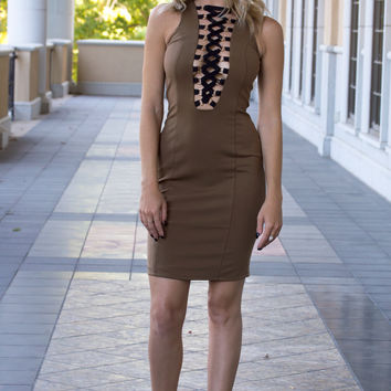 Date Night Lace Up Tan Bodycon Dress