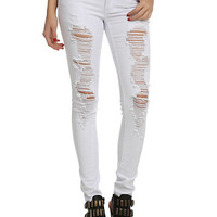 ChiQle White Distressed Super Skinny Jeans
