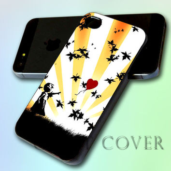 Banksy Balloon Girl Heart by GreatCover Print Design for iPhone 4/4s iPhone 5 Samsung S3 i9300 Samsung S4 i9500