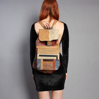80s LEATHER BACKPACK / Oversized PATCHWORK Bag with Tons of Pockets