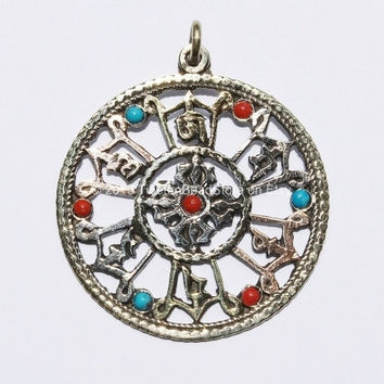 Tibetan Double Vajra and Mantra Carved Pendant with 3 Metals and Turquoise & Coral Inlay - WM309