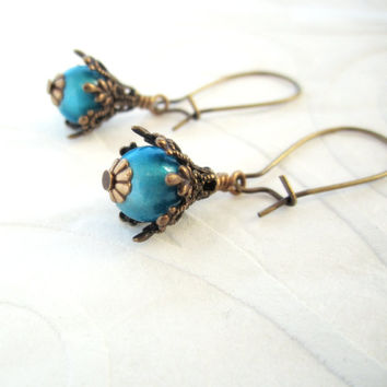 Aqua Earrings - Electric Neon Blue - Turquoise -  Brass Filigree