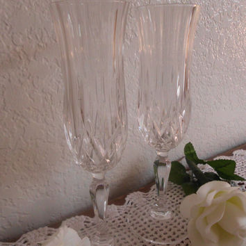Vintage Wedding Champagne Flutes Diamond Stem Reception Toasting Romantic Anniversary Present Gift Mothers Day Bridal Baby Shower Party