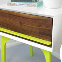 WFOUR Design Side Table + Drawer - Lacquer/Walnut/Lime Green