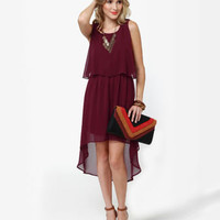 Lovely Burgundy Dress - High Low Dress - Midi Dress - $45.00