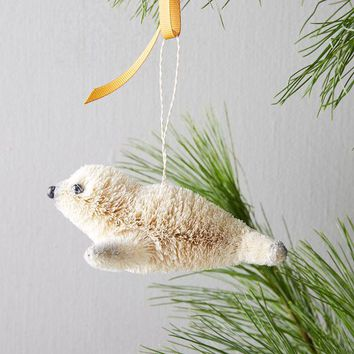 Bottle Brush Ornament - Seal