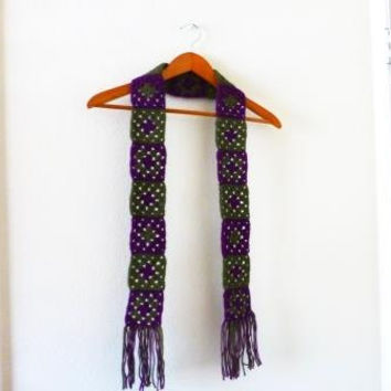 Crochet scarf, granny square scarf, purple and green, purple scarf, green scarf, women's accessories, winter wear, ready to ship, handmade