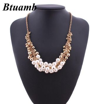 Btuamb Bohemian Punk Style Big Small Beads Ball Necklaces Pendants New Arrival Simulated Pearl Statement Necklaces Women Jewelry