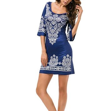 Ethnic Style Women Sexy Round Collar Cashew Flowers Paisley Classical Printing Elastic Force Dress