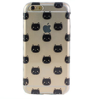 Clear Black Kitty iPhone 6 Case
