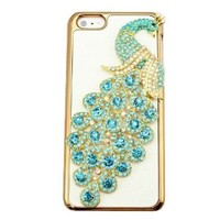 bling 3D diamond crystal clear peacock hard back Case cover for Iphone 5C (light blue)