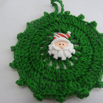 Christmas Ornament Crocheted in Green with Santa Adornment