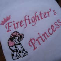 Embroidered Firefighter's Princess COLORED shirt or Onesuit.  Great for any fireman's daughter.