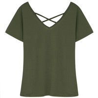 Green V-neck Cross Strap Short Sleeve -shirt