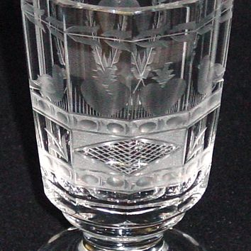 999678 Crystal Glass With 10 Cut Flat Sides On Stem, Engraved Birds, Apples On Base
