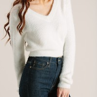Chloe Off White Eyelash Crop Sweater