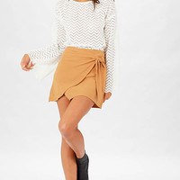 Just A Girl Wrap Skirt - Brown