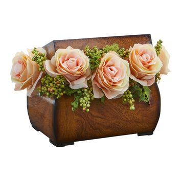 Artificial Flowers -Roses Peach Arrangement in Decorative Chest