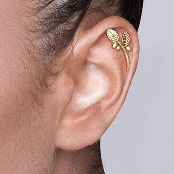 Solid 14k Gold Leaves and Berries Cartilage Earring - gold ear cuff , gold ear piercing , cartilage earring , ear cuff , valentine's da gift