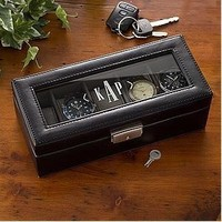 Personalized Monogram Leather Watch Box