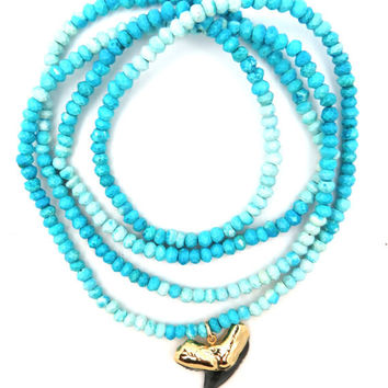 Ombre Turquoise Shark Tooth Necklace- Silver or Gold Tooth