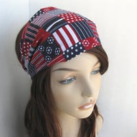 USA Headband America Head Wrap Blue Red White Patriotic Colors Stars and Stripes Bandana Fourth of July Hair Accessories