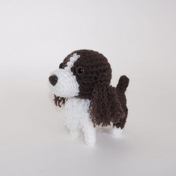 English Springer Spaniel Stuffed Animal Hunting Dog Crochet Amigurumi Puppy / Made to Order