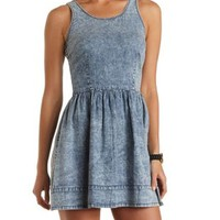Lace-Up Acid Wash Denim Dress by Charlotte Russe