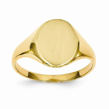 14k Yellow Gold Brushed Solid Polished Signet Ring