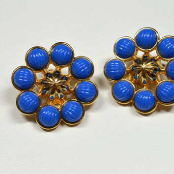 Vintage Monet Clip Earrings Goldtone Blue Ribbed Stones Large Hubcap Earrings Goldtone Accents Large Clip Earrings Monet Jewelry