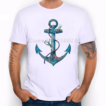 Fashion Men's Summer Casual Tops anchor  Printed T Shirt Casual Male Tops Hipster Printed  novel  Style Tees