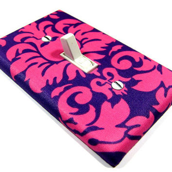 Bright Pink and Purple Damask Light Switch Cover Cottage Chic Shabby Chic Home Decor Nursery Switchplate Switch Plate 961