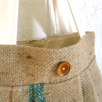 Upcycled Burlap Market Bag. Fall Fashion. Oversized Tote. Natural. Muslin. FREE Shipping.