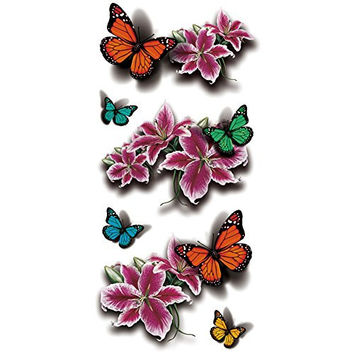 TAFLY Temporary Tattoo 3D Butterfly and Flowers Body Art Waterproof Transfer Tattoos Stickers 5 Sheets