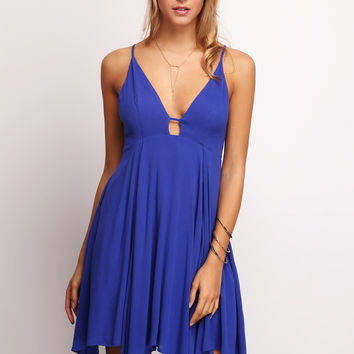 Blue Spaghetti Strap Keyhole Front Pleated Dress | MakeMeChic.COM