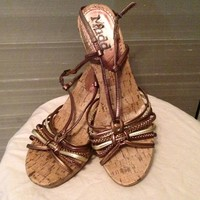 Mudd Gold/Bronze Braided Sandals Cork High Heels