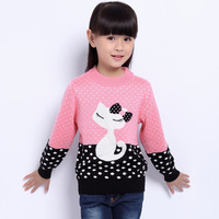 Children's Sweater Spring Autumn Girls Cardigan Kids O-Neck Sweaters Girl's Fashionable Style Outerwear Pullovers