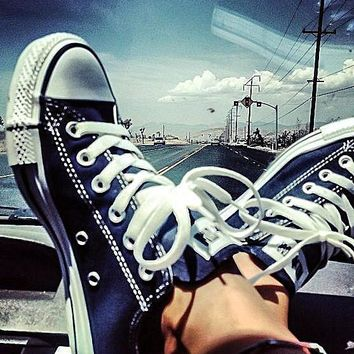 Converse Fashion Canvas Flats Sneakers Sport Shoes Low tops Dark Blue