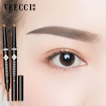 Veecci Eyebrow pencil waterproof and sweat is not blooming lasting with eyebrow brush automatic rotation Eyes Makeup Tools