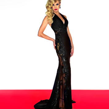 Mac Duggal 2013 Prom Dresses - Black Halter Sheer Dress