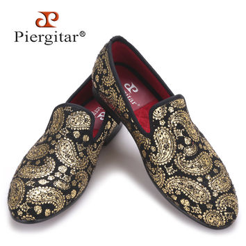 Gold cashew flowers prints men velvet shoes Party and Wedding loafers  style smoking slipper men's flats