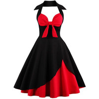 Womens Red & Black 1950s Retro Skater Dress Size S-4XL