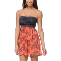 Lunachix Charcoal & Coral Print Crochet Strapless Dress