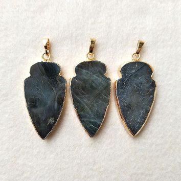 5pcs Natural Labradorite Pendant Bead,Gold color Arrowhead, Peacock Shining Labradorite Arrow DIY Jewelry necklace Making P251