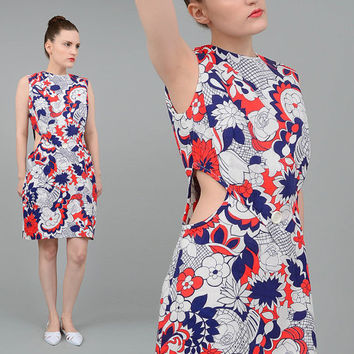 Vintage 60s Dress Floral Print CUT OUT Waist Mod Go Go Mini Dress Navy White Red Medium M