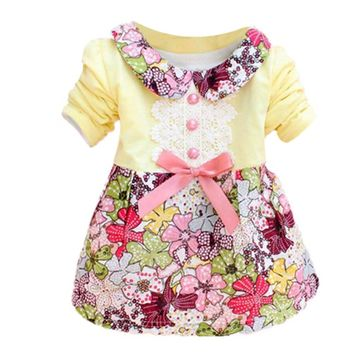 Baby Girl New Spring Autumn Fashion Cute Dress Floral Long Sleeve Doll Collar Baby Girls Dress 0-24M Clothes