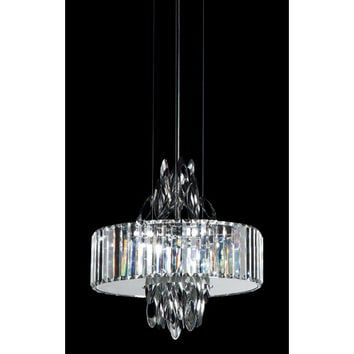 Trans Globe Lighting MDN-1143 Polished Chrome Chimes 23-Inch Crystal Pendant with Cubic Cut Crystal Shade, Frosted Glass Diffuser