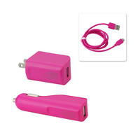 REIKO MICRO 1 AMP 3-IN-1 CAR CHARGER WALL ADAPTER WITH USB CABLE IN HOT PINK