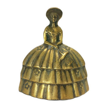 Brass Southern Belle Hand Bell Lady Kitchen Dinner Serving Table Bell Figural Crinoline Colonial Style Dress