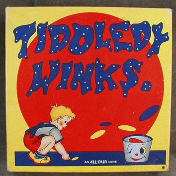 Colorful Vintage Boxed Toy - Tiddledy Winks Game with Original Box